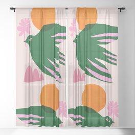 Abstraction_BIRD_SUN_Beautiful_Day_Minimalism_001 Sheer Curtain