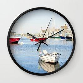 Boats Reflecting in Harbor in Nantucket Wall Clock
