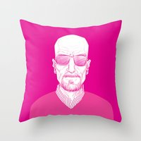 walter white Throw Pillows featuring Walter White by Ron Chan