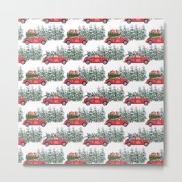 Corgis in car in winter forest Metal Print
