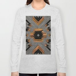 Urban Tribal Pattern No.6 - Aztec - Concrete and Wood Long Sleeve T-shirt