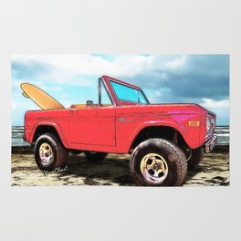 Surf Bronco Beyond the 4 Wheel Drive Only Sign Padre Island Rug