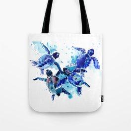 Sea Turtles, Marine Blue underwater Scene artwork Tote Bag