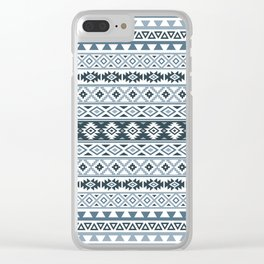 Aztec Stylized Pattern Gray-Blues & White Clear iPhone Case