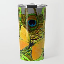 GREEN ART NOUVEAU BUTTERFLY PEACOCK PATTERNS Travel Mug