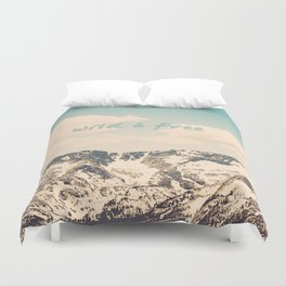 Wild and Free Faded Colorado Mountains Landscape, Clouds, blue skies, rockies Duvet Cover