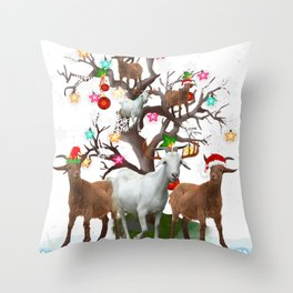 Christmas Goat On Tree Funny Santa Goat Lover Gifts Throw Pillow
