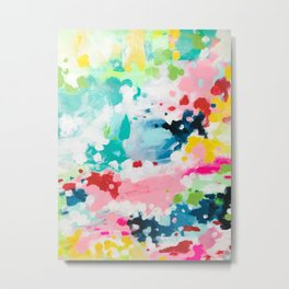 Colorful Fantasy Neon Rainbow Abstract Art Acrylic Painting Fluffy Pastel Clouds by Ejaaz Haniff Metal Print