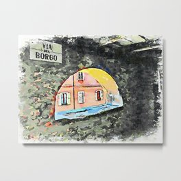 Brisighella: road plate with arched window Metal Print