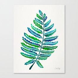 Fern Leaf – Blue & Green Palette Canvas Print