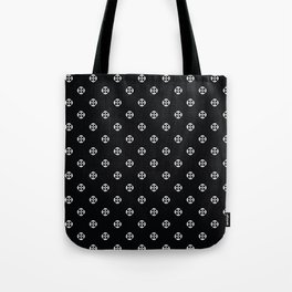 White on Black Polka Dot Tote Bag