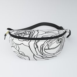 Feminine and Romantic Rose Pattern Line Work Illustration Fanny Pack