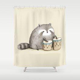 Raccoon on Bongos Shower Curtain