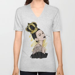 Beautiful girl with long hair in a crown with precious stones. Big eyes and full lips. Vector illustration for greeting card or poster, print on clothes. Fashion and style, accessories. Unisex V-Neck