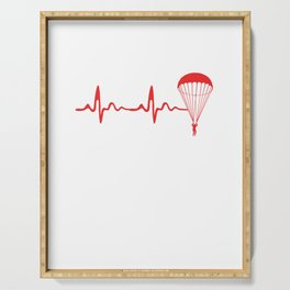 Skydiving Heartbeat Skydive Extreme Sports Parachute Skydiving Gifts Serving Tray