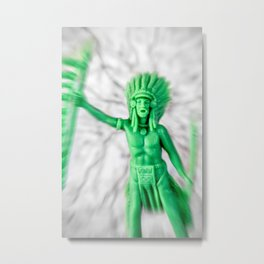 Native american indian green plastic toy battle confrontation Metal Print