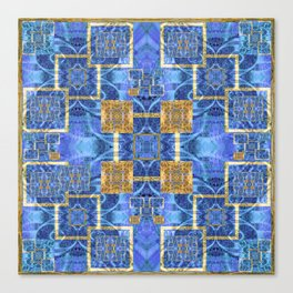 Geometric Blue and Gold Wealth Mandala Canvas Print