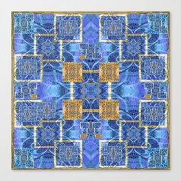 Geometric Blue and Gold Wealth Mandala Canvas Print