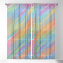 Color Overload Painting / Watercolor Hand Painted Tie-Dye Effect Gradient / Orange Yellow Blue Pink Sheer Curtain