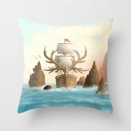 The Antlered Ship - Jacket Throw Pillow