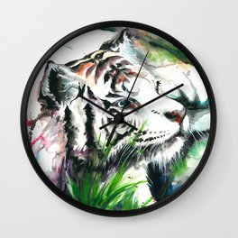 WHITE TIGER WATERCOLOR Wall Clock