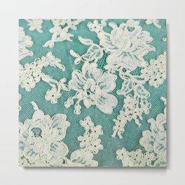 white lace - photo of vintage white lace Metal Print