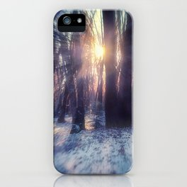 Breaking Through light in the woods iPhone Case