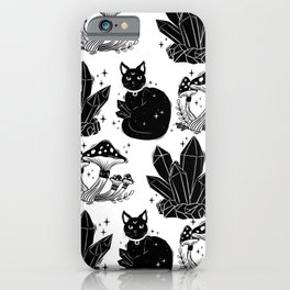 magic cat pattern, witch cat pattern, halloween cat pattern iPhone Case