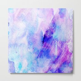 Hand painted blush pink teal blue watercolor brushstrokes Metal Print