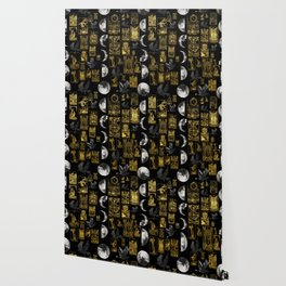 Beautiful Tarot Print with Raven and Moon Wallpaper