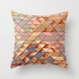 Triangles Circles Golden Sun Throw Pillow