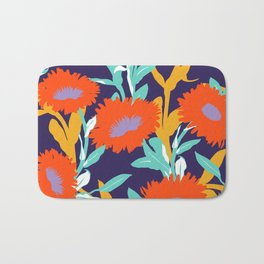 Big red flowers silhouettes Bath Mat