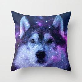 Galaxy Siberian Husky Throw Pillow