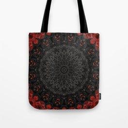 Red and Black Bohemian Mandala Design Tote Bag
