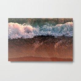 Wave breaking Foaming beach Seashore Metal Print