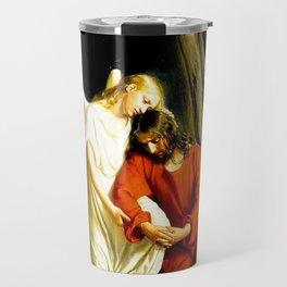 Carl Heinrich Bloch Angel With Jesus Christ Before Arrest in the Garden of Gethsemane Travel Mug