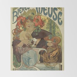 Alfons Mucha art nouveau beer ad Throw Blanket