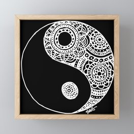 Black and White Lace Yin Yang Framed Mini Art Print