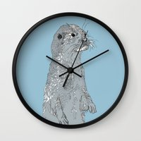 otter Wall Clocks featuring Otter by caseysplace