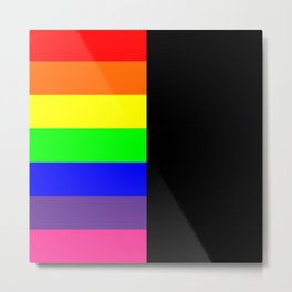Rainbow Block in Black Metal Print