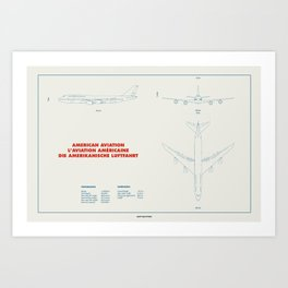 Boeing 747 plane technical drawing Art Print