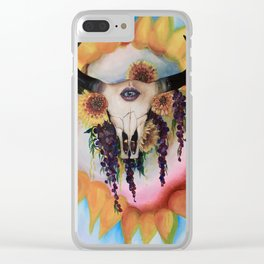 vibrant sunflower skull Clear iPhone Case