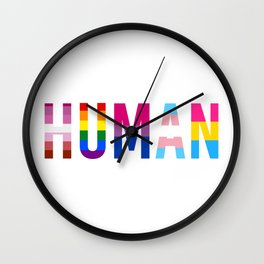 HUMAN LGBT pride flags Wall Clock
