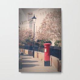 Red Postbox In Spring Metal Print