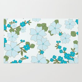 Flowers, Petals, Leaves, Blossoms - Blue Green Rug