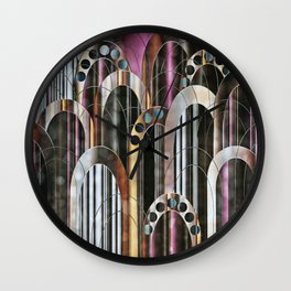 Empire Mulberry Abstract Cityscape Wall Clock