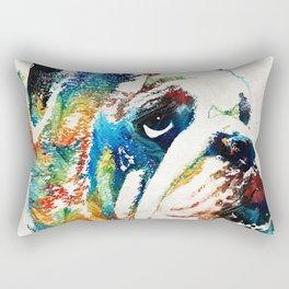 Bulldog Pop Art - How Bout A Kiss - By Sharon Cummings Rectangular Pillow