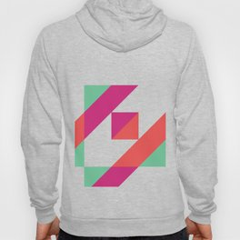 Hot Pink, Neon Grapefruit and Neon Turquoise Color Block Hoody
