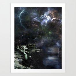 Snow Leopard Storms Art Print