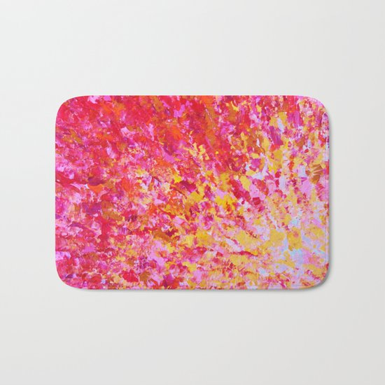 ROMANTIC DAYS - Lovely Sweet Romance, Valentine's Day Sweetheart Pink Red Abstract Acrylic Painting Bath Mat